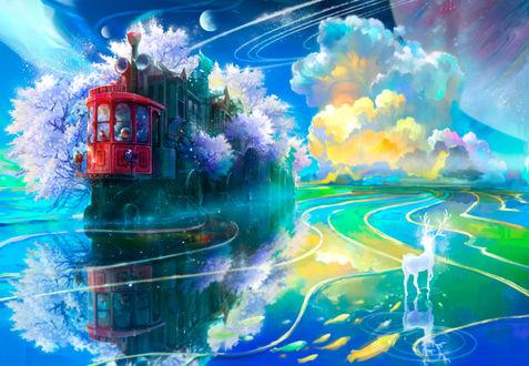 Обои Сияющий белый олень, стоя на воде, в которой плавают золотые рыбы, смотрит на поросший цветущими деревьями сакуры поезд, на фоне неба с разноцветными облаками и планетам, ву Benjamin Zhang Bin