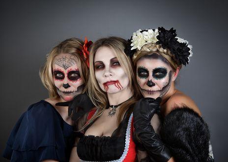 Обои Три девушки с гримом на лице, готовятся к Хэллоуину / Halloween