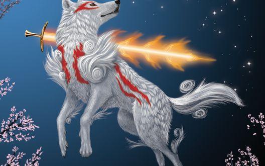 Огненный волк обои на рабочий стол
