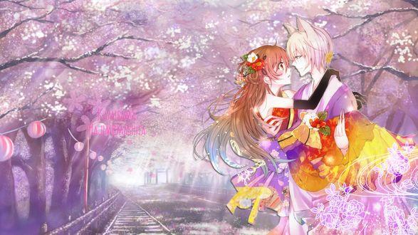 Обои Томоэ / Tomoe держит на руках Нанами Момозоно / Nanami Momozono, стоя среди цветущих деревьев сакуры, аниме Приятно познакомиться, Бог / Kamisama Hajimemashita, art by chaperu (mukuone)
