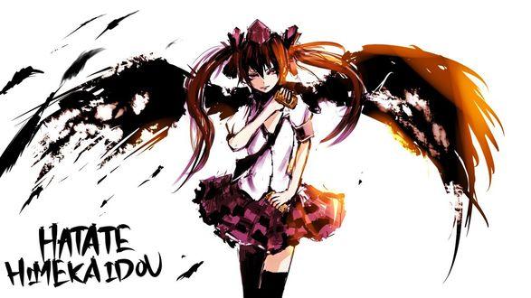 Обои Himekaidou Hatate / Хатате Химекайдо с черными крыльями на белом фоне, из игры Тохо / Touhou project / Проект Восток