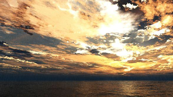 Обои Море на фоне заката, идет дождь, by TRBRCHDM
