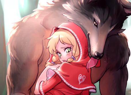 Обои Красная шапочка и серый волк