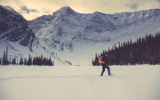 Обои Лыжник пробирается по нетронутому снегу на фоне гор