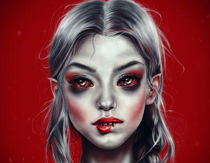 Обои Портрет девушки-вампира с красными глазами