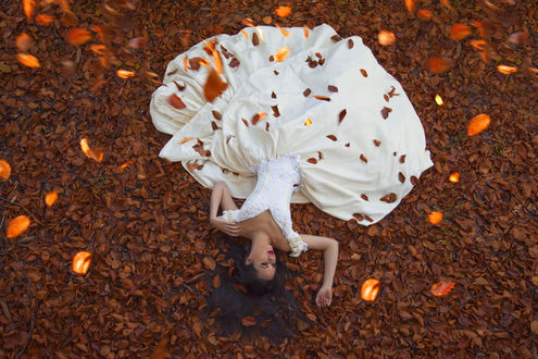 Обои Брюнетка в пышном кремовом платье с белыми кружевами лежит на опавшей осенней листве, Maja Topcagic Photography