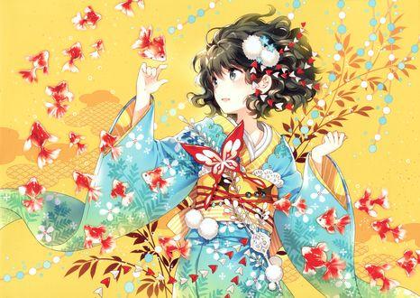 Обои Девушка в голубом кимоно с цветами и бабочкой на желтом фоне среди красных рыбок, мангака Nardack