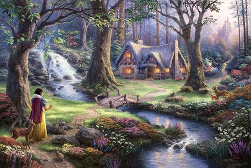 Обои Белоснежка, заблудившись в сказочном лесу, вышла к реке, возле которой стоит маленький домик, художник Томас Кинкейд / Thomas Kinkade