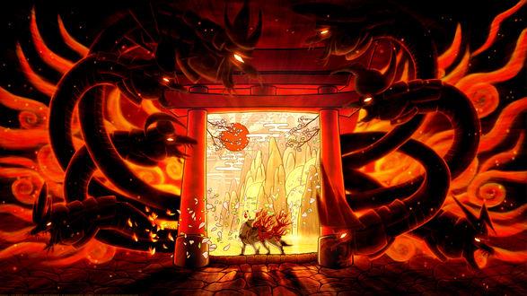 Обои Божественный белый волк Amaterasu / Аматерасу стоит на пороге красных ворот, окруженных драконами, из игры Okami