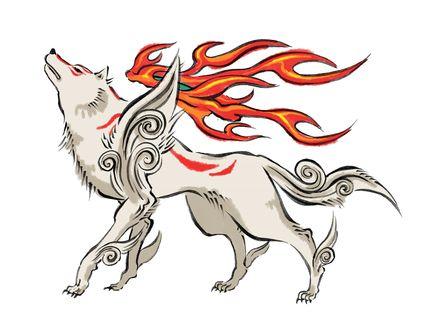 Обои Божественный белый волк Amaterasu / Аматерасу из игры Okami