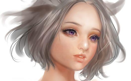 Обои Белокурая девушка с сиреневыми глазами, by Airspace