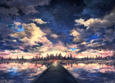 Обои Деревяный мост через водоем на фоне закатного неба, в котором начинают появляться первые звезды