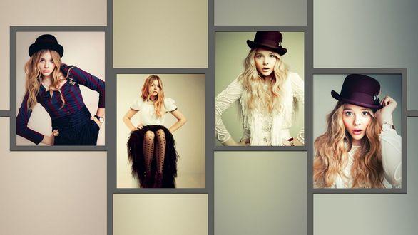 Обои Коллаж из фотографий американской актрисы и модели Хлои Морец / Chloe Moretz