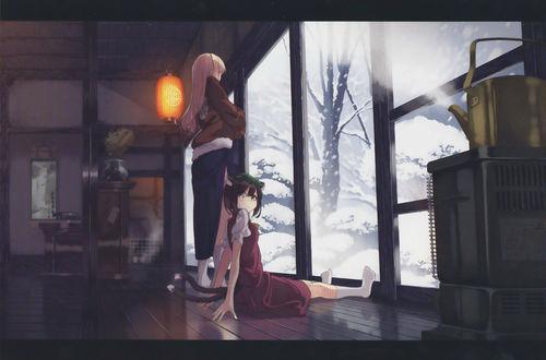Обои Yukari Yakumo / Юкари Якумо и Chen / Чен смотрят в окно на выпавший снег, из серии компьютерных игр Проект Восток / Тохо / Touhou Project, art by Garnet