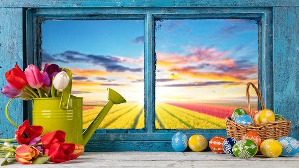 Обои Лейка с тюльпанами и пасхальная корзинка с крашеными яйцами на подоконнике, из окна открывается вид на поле, освещенное солнцем, и небо с разноцветными облаками