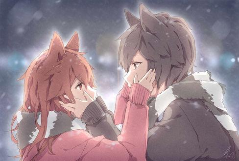 Обои Рыжеволосая девушка-нэко и темноволосый парень-нэко одновременно прикасаются к лицу друг-друга, смотря друг другу в глаза