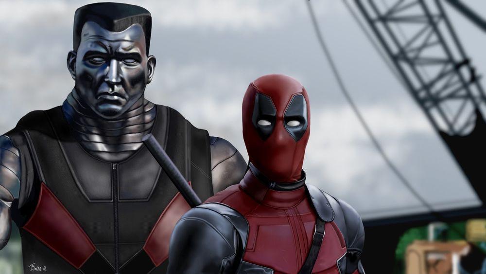 Обои для рабочего стола Дэдпул и Колос из кинофильма Deadpool