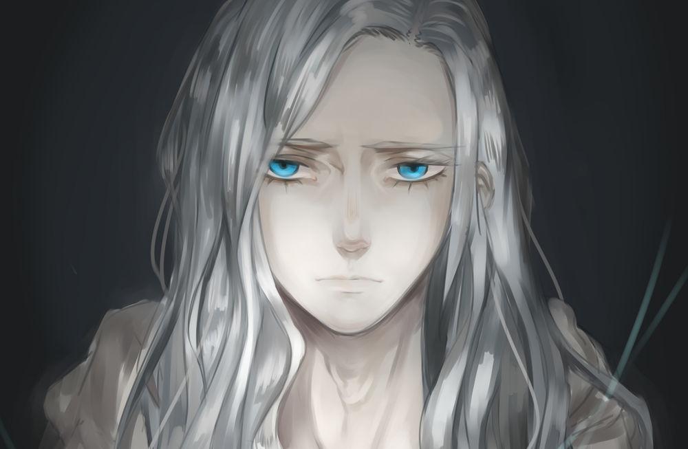 красивый парень с белыми волосами