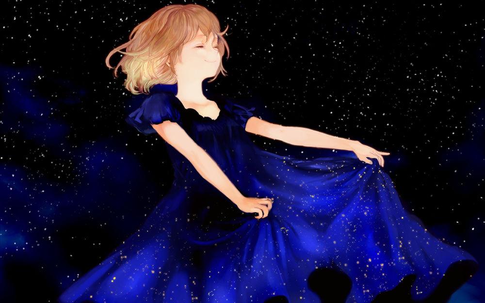 Аниме девочка в синем платье