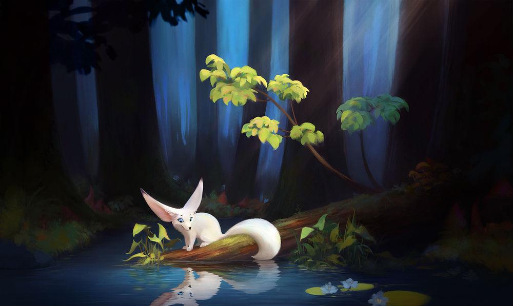 Обои для рабочего стола Белый лисенок-фенек сидит на берегу у пруда в лесу и смотрит на свое отражение, by Purrskill