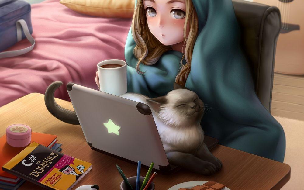 Девушка возле стола фото