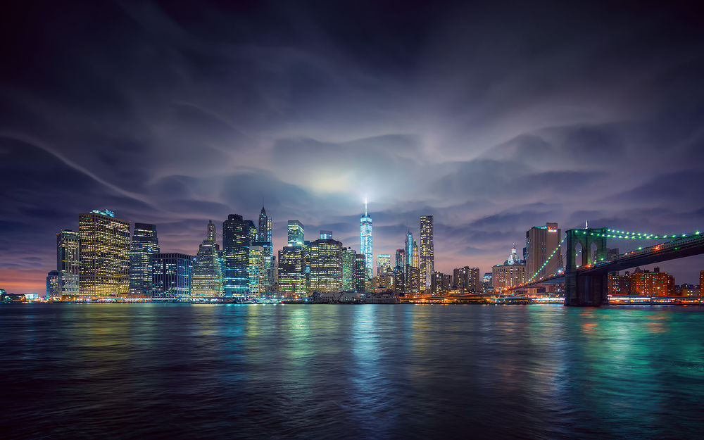 Oboi Okean Na Fone Nochnogo Goroda Nyu Jork Ssha New York Usa Na