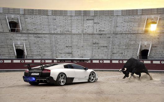 Обои Бык против автомобиля на арене для корриды, на фоне трибун