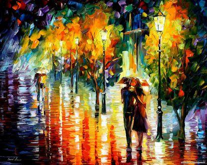 Обои Двое гуляют под дождем, художник Леонид Афремов