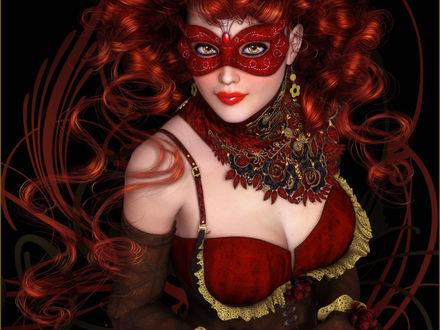 Обои Рыжеволосая девушка в красной маскарадной маске, красном платье и красивом колье смотрит на нас