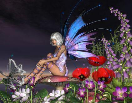 Обои Девушка-эльф сидит на грибе среди красивых цветов ночью, и любуется бабочкой