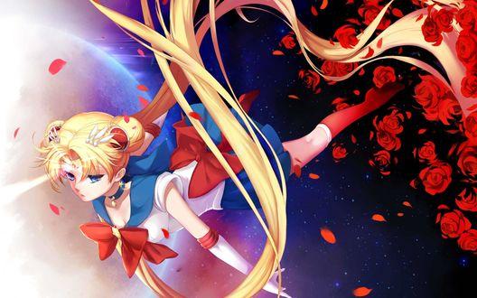 Обои Usagi Tsukino / Усаги Цукино / Сейлор Мун / Seilor Moon из аниме Bishoujo Senshi Sailor Moon / Красавица-воин Сейлор Мун