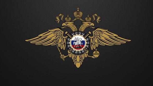 Обои Герб России на черном фоне