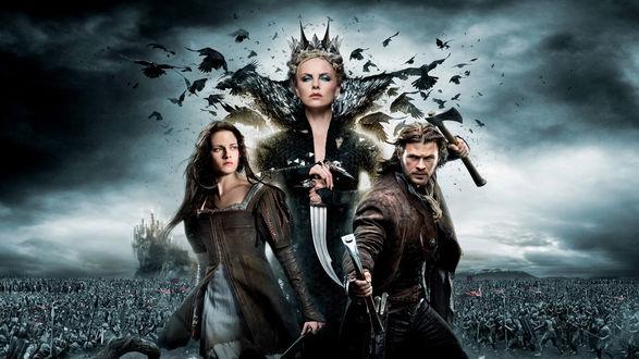 Обои Белоснежка, парень и девущка на фоне воюющиъ армий, к / ф Белоснежка и охотник