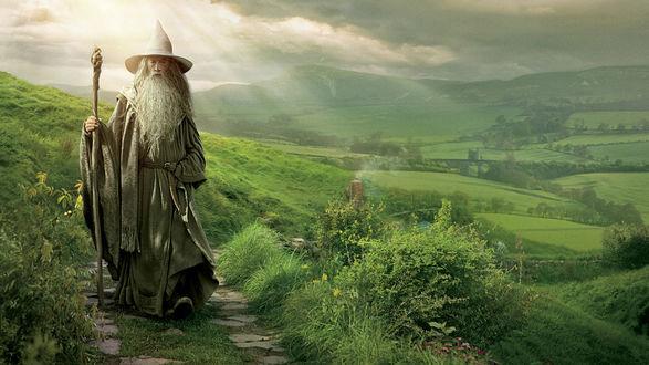 Обои Гэндальф / Gandalf идет по тропе среди залитых солнцем лугов, из фильма Хоббит: Нежданное путешествие