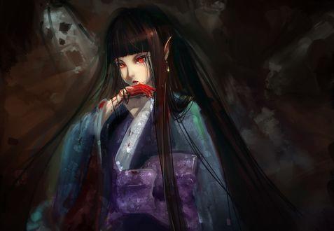 Обои Enma Ai / Энма Ай в кимоно с окровавленной рукой из аниме Адская девочка / Hell Girl / Jigoku Shoujo