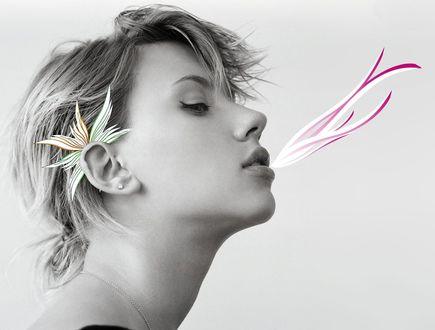 Обои Scarlett Johansson / Скарлетт Йоханссон, актриса, звезда, художественный портрет, комбинация монохрома и цвета