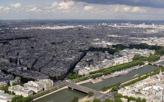 Обои Панорама Парижа / Paris, вид с Эйфелевой башни