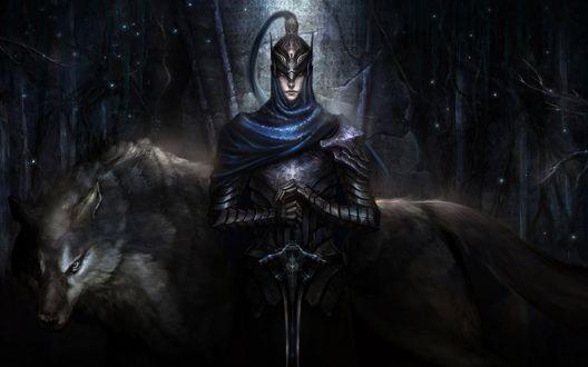 Обои Рыцарь Арториас / Knight Artorias с мечом в руках стоит возле большого серого волка, персонаж из игры Dark Souls / Темные Души