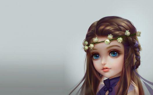 Обои Девушка с голубыми глазами с веночком из белых цветов ландыша