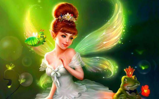 Обои Девушка эльф с крыльями бабочки рядом с гусеницей и лягушкой в короне