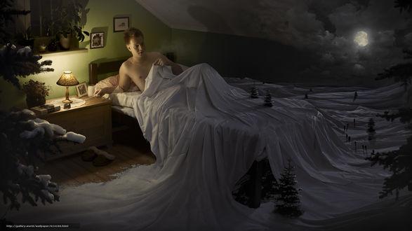 Обои Парень, лежа в кровати, с удивлением смотрит на изменившийся вокруг него мир