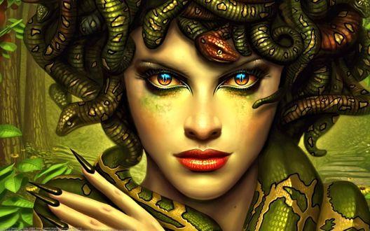 Обои Девушка с клубком змей на голове
