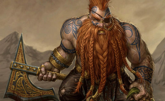 Обои Сильный мускулистый викинг с бородой, заплетенной в косички с топором в руке на фоне гор