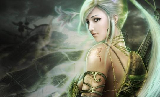 Обои Девушка с зелеными волосами, собранными в хвост с татуировкой бабочки на плече