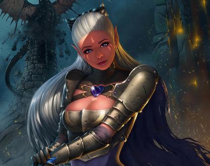 Обои Девушка эльф с голубыми глазами с длинными волосами, одета в металлические доспехи на фоне летучего змея
