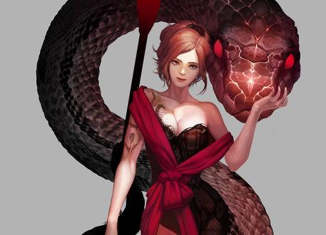 Обои Девушка, на плечах которой накинут малиновый шарф держит огромного змея с красными глазами за морду