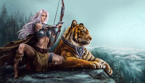 Обои Девушка эльф сидит на скале с натянутой стрелой в тетиве лука, рядом с ней лежит тигр