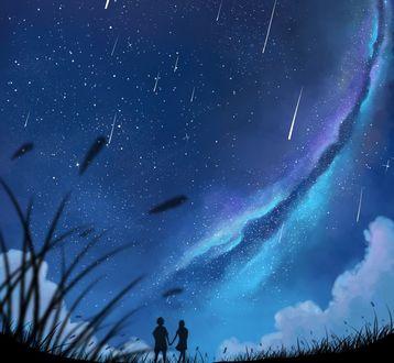 Обои Влюбленная пара гуляет под падающими звездами, глядя в ночное небо, арт от Dias Mardianto