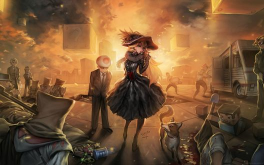 Обои Арт к игре Minecraft / Майнкрафт, принцесса курит трубку, ей прислуживает парень - гриб, вокруг них люди с мешками на головах и собака
