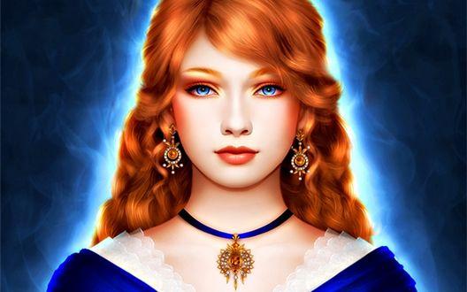 Обои Девушка с рыжими волосами и голубыми глазами